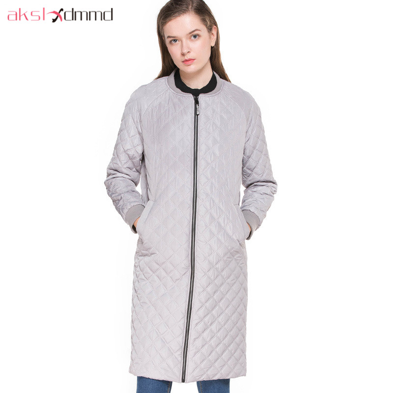 AKSLXDMMD Casual Coat 2017 New Autumn and Winter Women Zipper Slim Jacket Parkas Long Coats Fashion Winter Jacets LH1180 2016 autumn winter women s casual fashion not as long as before and after long section side seam zipper bags seven snowflakes