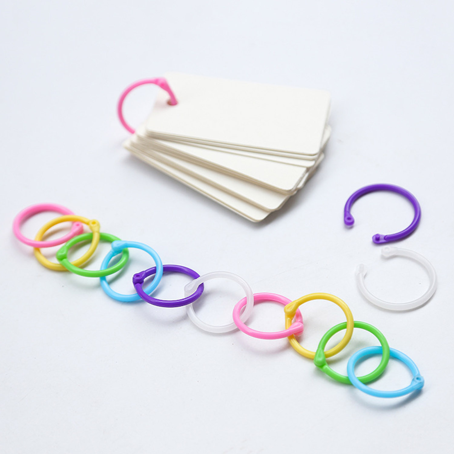 1 Box Colored Easy Ring Plastic Binder Snap Calendar Rings For Loose Leaf Paper Cards Photo Album Menu Book 1 Inch Random Colors