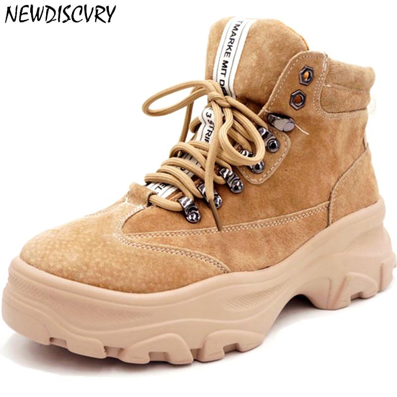 NEWDISCVRY Genuine Leather Platform Sneakers Women 2019 Fashion Women s Winter Boots Plush Warm Combat Boots