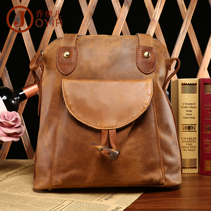 Beautiful High grade Crazy Horse leather women backpack first layer of genuine cow leather women's travel bags Fashion backpacks top grade first layer cow genuine leather backpack men laptop bag vintage oil wax leather backpack women unisex travel tote
