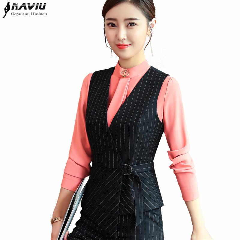 a5c8d0b9b Autumn New Fashion Vest OL Professional women stripes work uniforms Slim V  Neck Formal office vests