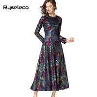 Ryseleco 2018 New Fashion Long Vintage Women A Line Print Crochet Floral Lace Long Sleeve Elegant