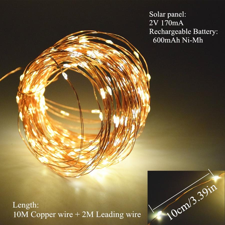 Solar String Lights 10 M 100 LED Koperdraad String Fairy Lights - Buitenverlichting - Foto 3
