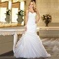 2016 Simple Sirena Vestido de Novia Sexy Novia de Organza Blanca Ruffles Vestido De Noiva Vestidos de Novia Venta Caliente Barato