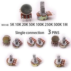 Glyduino WH148 5K 10K 20K 50K 100K 250K 500K 1M Linear Potentiometer Pot Single Joint for Arduino