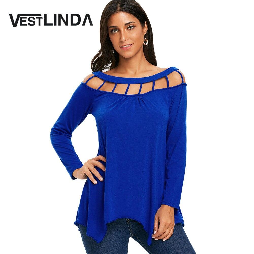 Vestlinda туника с длинными рукавами футболка с решетки Cut Out 2018 Для женщин новые весенние Повседневное Slash Средства ухода за кожей Шеи Асимметри... ...