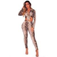 2 piece set women shirt snake printed bow sexy crop tops streetwear long pants snakeskin trousers