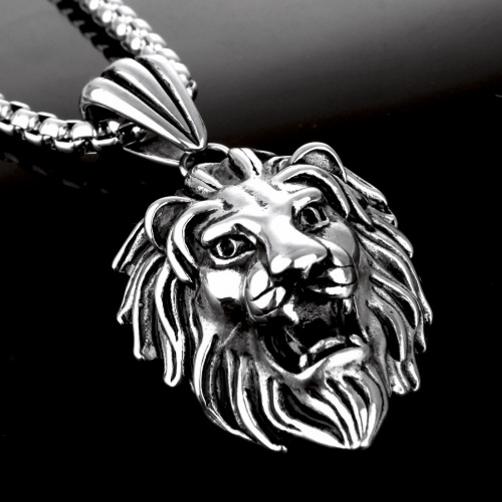 Popular Sale Men's Vintage Silver Stainless Steel Lion Pendant Box Necklace Free Good Gift for Boyfriend vintage ivory decorated carving stainless steel pendant necklace