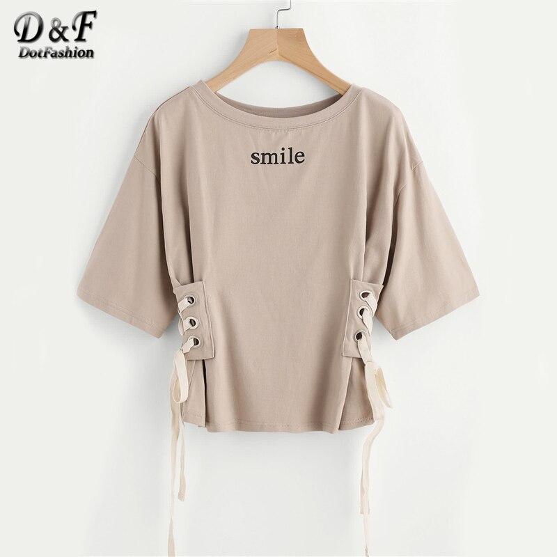 Dotfashion Drop Épaule Oeillet Dentelle Up Côté T D'été Sourire Imprimé Manches Demi Casual T-shirt Café Col Rond T-shirt