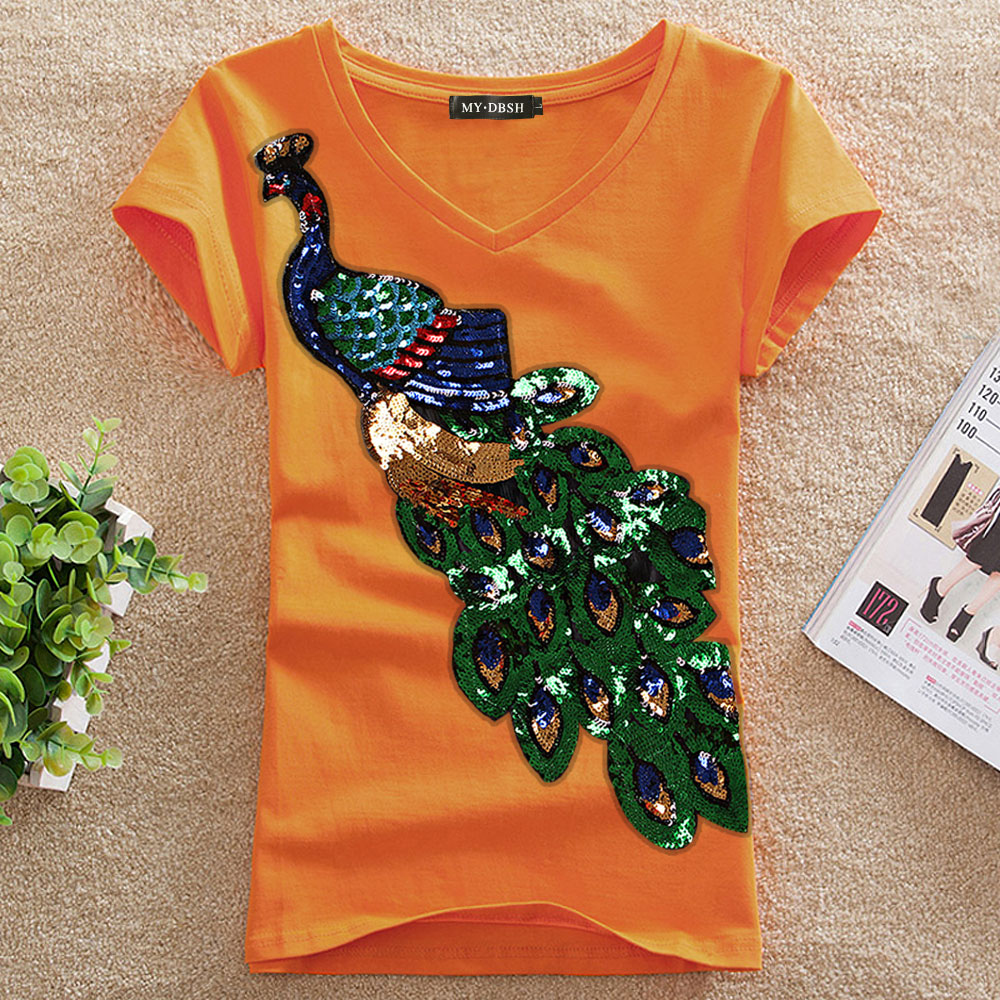 4c4fdd9e76 Women's Cotton T Shirts Short Sleeve Peacock Sequins Embroidery Tops ...