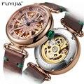 Автоматические механические часы FUYIJIA  женские часы с бриллиантом  водонепроницаемые Восьмиугольные часы с кожаным ремешком