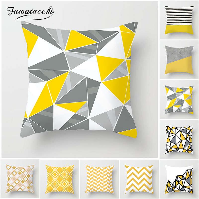 Fuwatacchi Yellow Geometric Cushion Covers Diamond Square Pillow Cases Striped Pillow Covers Bedroom Sofa Soft Throw Pillows