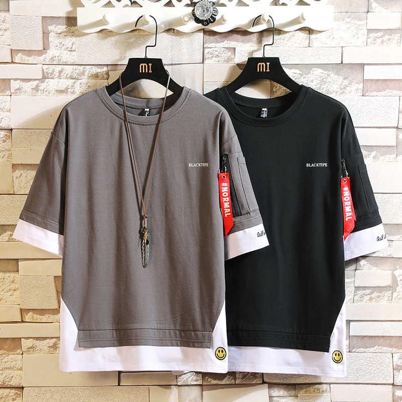 Fashion Setengah Lengan Pendek Fashion O Leher Print T-shirt Pria Kapas 2020 Musim Panas Pakaian Atas Tee Tshirt Plus Asia ukuran M-5X.