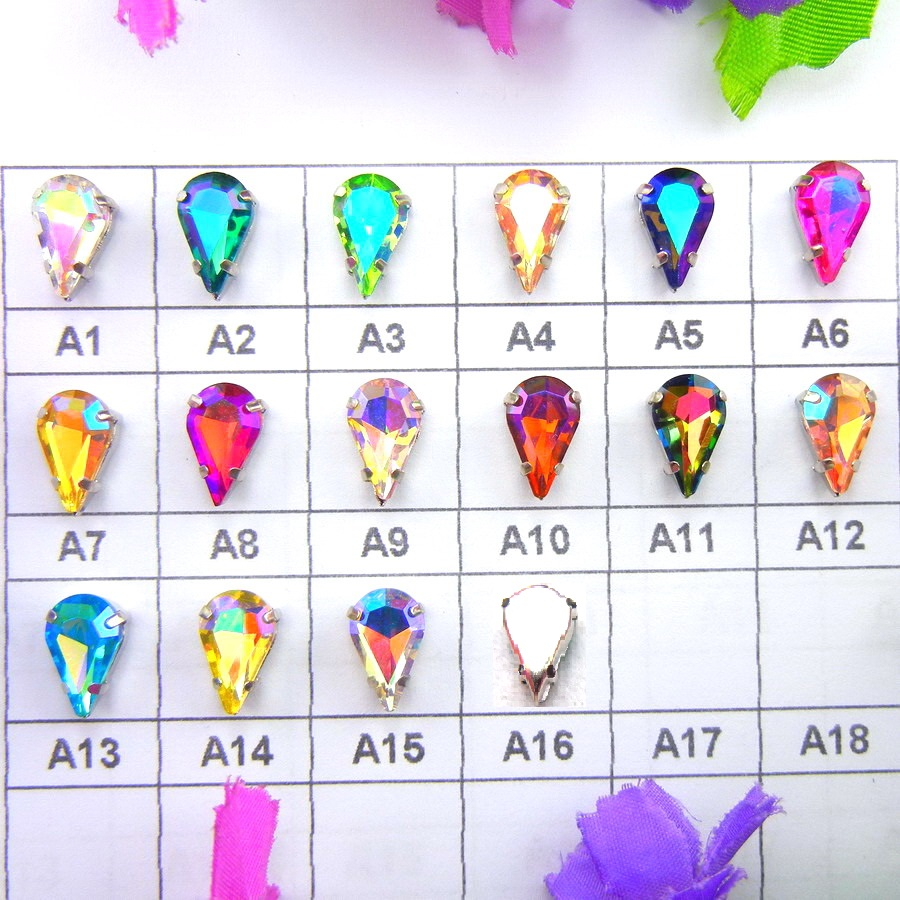 Configuración de garra de plata de colores AB 3 * 6 mm 6 * 10 mm 8 * 13 mm gota de agua lágrima coser en diamantes de imitación Cristales prenda zapatos accesorios diy