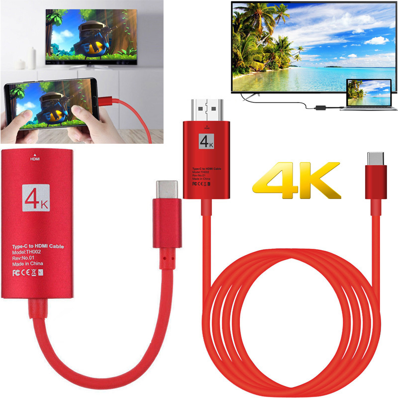 4K USB-C Type C Phone Adapter HDMI Video Connect Cable For MacBook Lumia 950XL Samsung Note8 Note 9 10 S10 S9 S8 To TV Projector