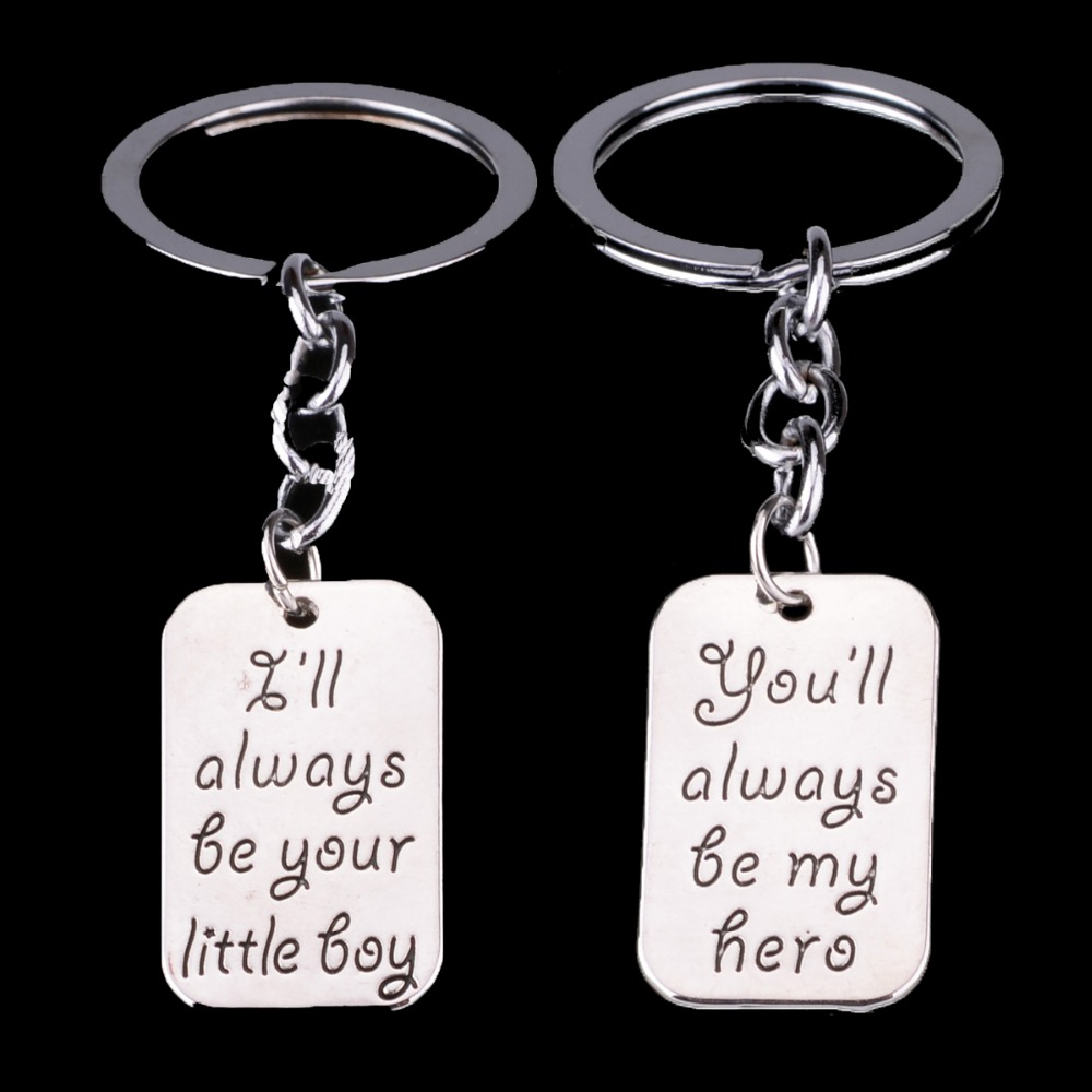 2PC Little Boy My Hero Dad Daddy Charm Keyrings Key Chains Rings Keychains Family Boys Father