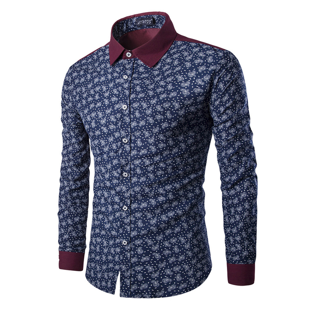 6150993b677a Mens Paisley Shirts Vintage Palace Flowers Printed Shirts Male Slim Fit  Long Sleeve Retro Chinese Style