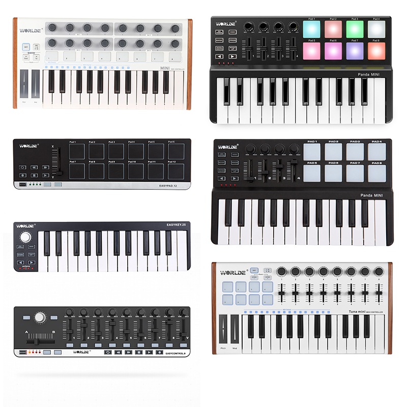 WORLED Hot Sale MIDI Keyboard Controller Mini USB Keyboard MIDI Control MIDI Controller Keyboard Pads 7 Styles For Option
