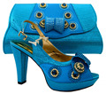 2016 Shoes And Bags To Match,Ladies Shoes For Wedding/Party With gold High Quality Shoes And Bag Set For Party sky blue!  HFC1-1