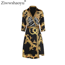 Ziwwshaoyu 2018 Summer Designer Dress Women Turn Down Collar 3/4 Sleeve Royal Baroque Printed Vintage Plus Size 2XL