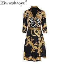 6694eeab03f517 Ziwwshaoyu 2018 Zomer Designer Vrouwen Jurk Turn Down Kraag 3 4 Mouwen  Royal Barok Gedrukt Vintage Plus Size 2XL Jurk
