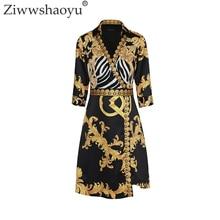 Ziwwshaoyu 2018 Summer Designer Dress Women Turn Down Collar 3/4 Sleeve Royal Baroque Printed Vintage Plus Size 2XL Dress