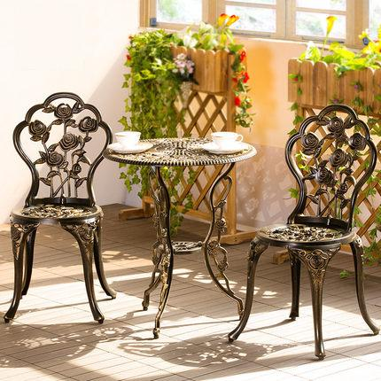 цена на European-style open-air balcony cast aluminum tables and chairs three-piece outdoor garden garden iron coffee table combination