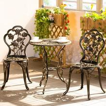 European-style open-air balcony cast aluminum tables and chairs three-piece outdoor garden garden iron coffee table combination цена