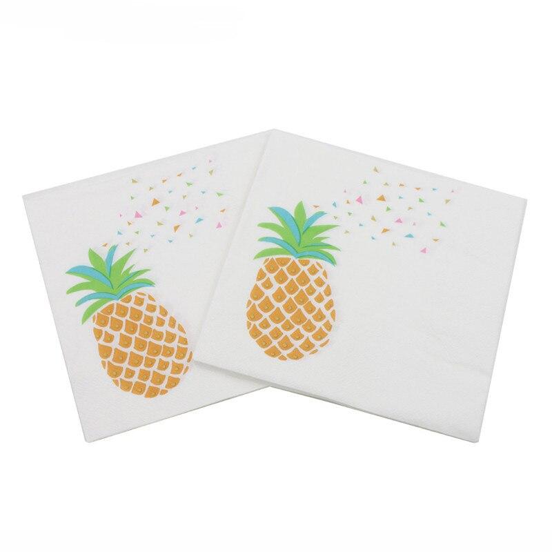 Beverage Paper Napkins Fruit Pineapple Event & Party Tissue Napkins Decoration Serviettes 33cm*33cm 20pcs/pack/lot