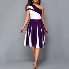 Summer Sexy Party Dress Women One Shoulder Color Block Elegant Evening Black Plus Size 4XL Female A Line Purple Midi Dresses 5XL цена 2017