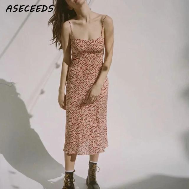 Sexy backless bodycon dress korean floral print beach dress elegant sleeveless midi dress Summer woman dress vestidos 2019 new 3