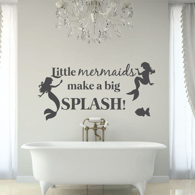 Free Shipping Beautiful Mermaid Wall Stickers For Kids Room Home Bathroom Vinyl Decal Quote Little Mermaids