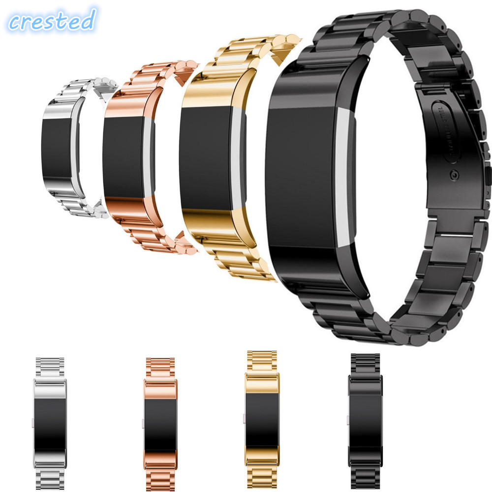 CRESTED Stainless Steel Watch band strap For Fitbit Charge 2 bracelet Smart Watch Wristwatch for Fitbit Charge2 with Connector stainless steel watch band for fitbit charge 2 wrist strap band bracelet link watchband smart wristband accessory for charge2