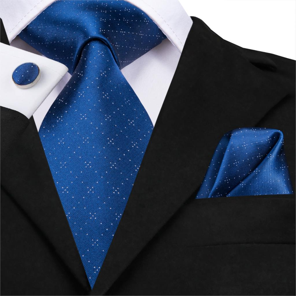 SN-3184 Luxury Royal Blue Tie 8.5cm Silk Woven Men Tie Plaid Necktie Hanky Cufflinks Set Party Wedding Classic Pocket Square Tie