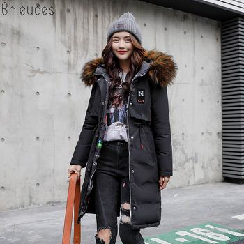 Brieuces 2018 winter jacket women colorful large fur collar female large loose thick winter coat women on both sides wear parkas недорого