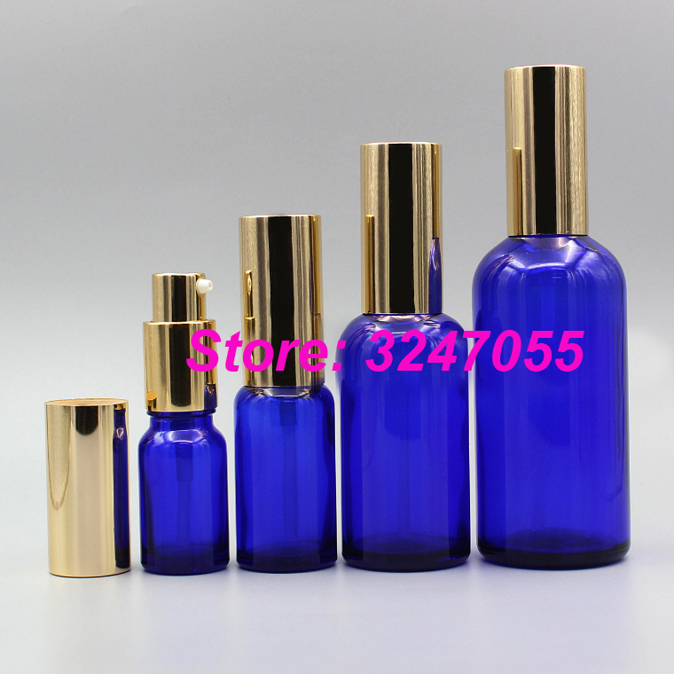 5ml10ml15ml20ml30ml50ml100ml Portable Professional Cosmetic Emulsion Bottle with Gold Cap, Glass Travel Lotion Pump Blue Bottle цена