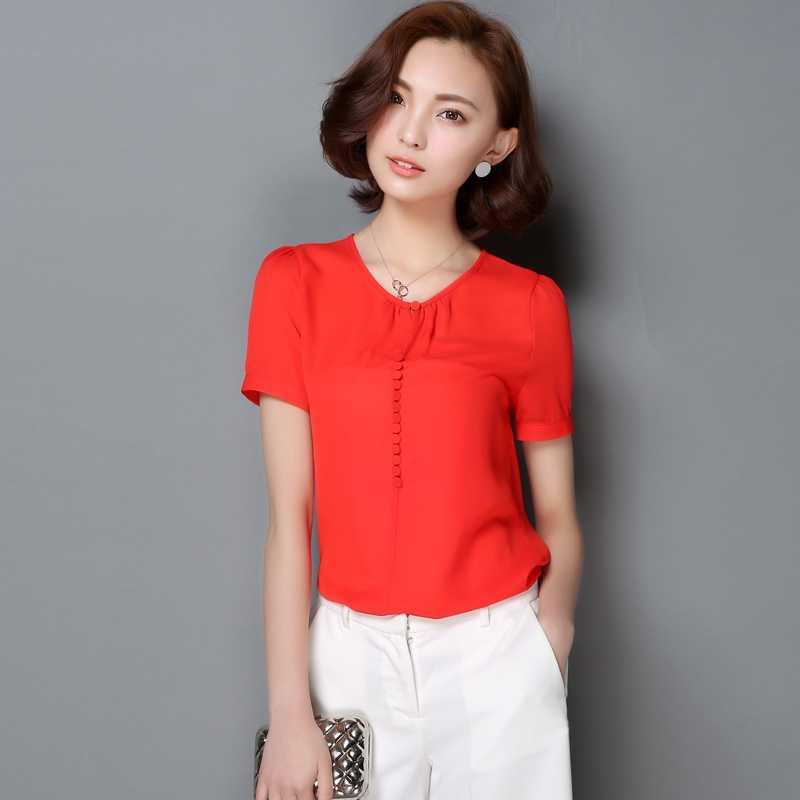 エレガントな女性ソリッドシフォン半袖オフィスシャツブラウスシャツ女性ブラウスピンク白黄赤 Y6 トップス