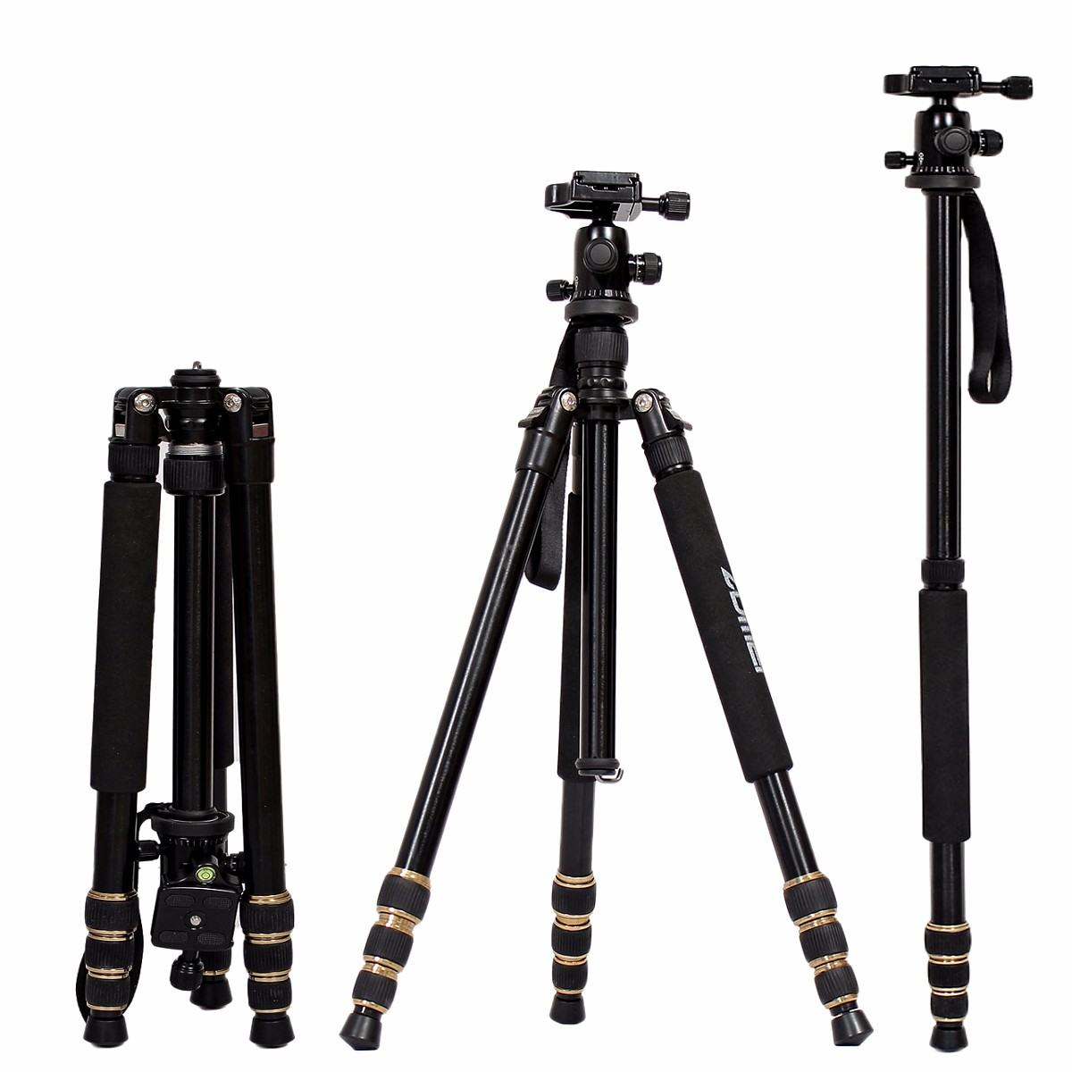 ZOMEI lightweight Portable Q666 Professional Travel Camera Tripod Monopod aluminum Ball Head compact for digital SLR DSLR camera zomei q666 professional magnesium alloy digital camera traveling tripod monopod for digital slr dslr camera