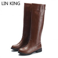 LIN KING New Spring Women Knight Boots Solid Pu Leather Knee High Long Boots Square Heels