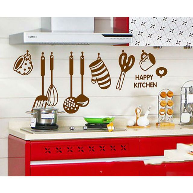 Elegant Cartoon Kitchen Utensils And Appliances Wall Stickers Wall Decal Removable  Art Home Mural Decor Decoration