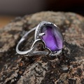 Uruguay amethyst ring wholesale S925 silver inlaid mosaic female oval micro electroplating