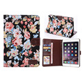 Fashion cute stand flip folio Flower Series Pastoral Style Printed leather case cover for ipad mini 2 3 with Card Slot