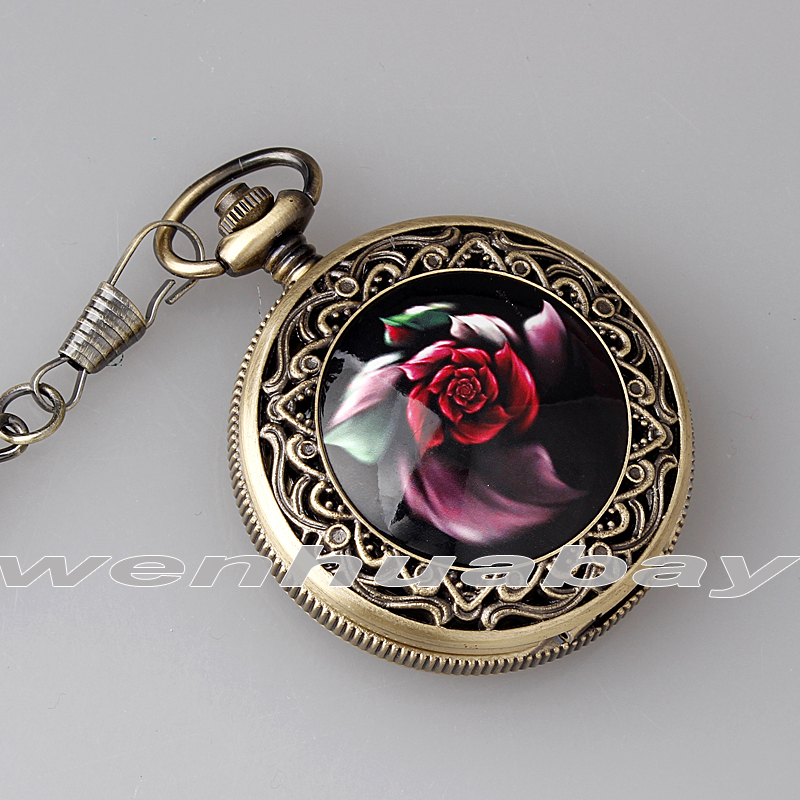 Vintage Rose bloem snijwerk Arabische cijfers zwarte wijzerplaat - Zakhorloge - Foto 4