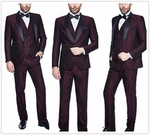Mens 3pc Burgundy Suit Shawl Lapel One Button Wedding Dress Party Tailored