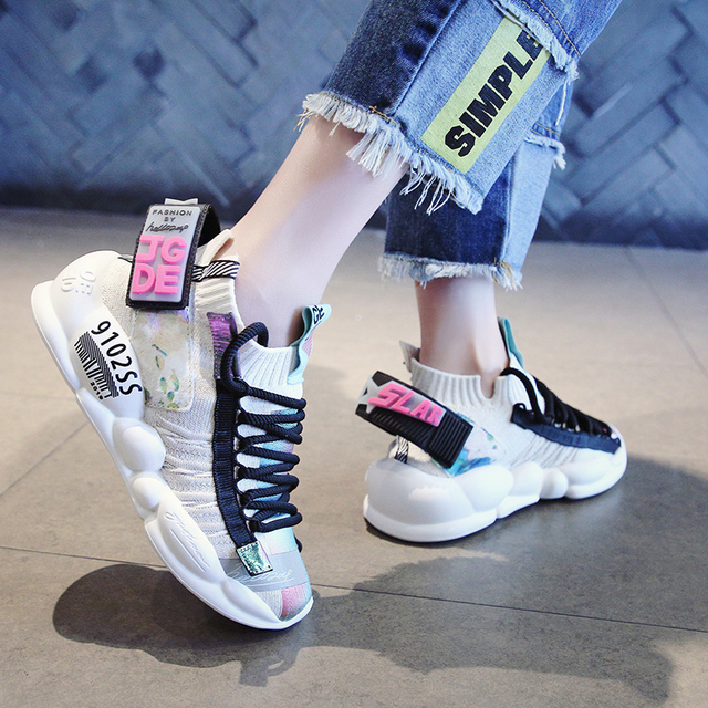Women Chunky Street Sneakers Knit Thick Soled Increased Women's Sneaker 2019 Spring Breathable Woman Shoes Lady Footwear NY-41