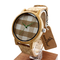 BOBO BIRD A28 Check Gingham Dial Round Bamboo Watches Men's Women's Fashion Quartz Wristwatch with Soft Band zegarki damskie