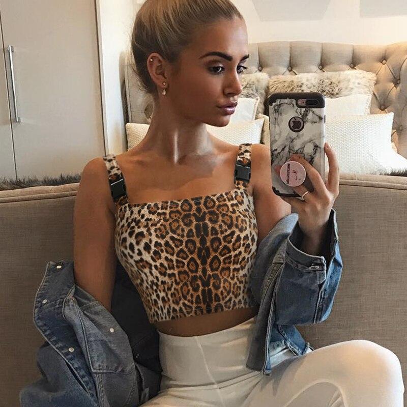6af1c3282 2019 Darlingaga Streetwear Leopard Crop Top Women Vest Buckle ...