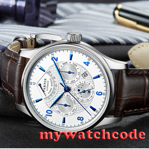 42mm parnis white dial Sapphire Glass 26 jewels miyota Automatic mens Watch P537 42mm parnis withe dial sapphire glass miyota 9100 automatic mens watch 666b