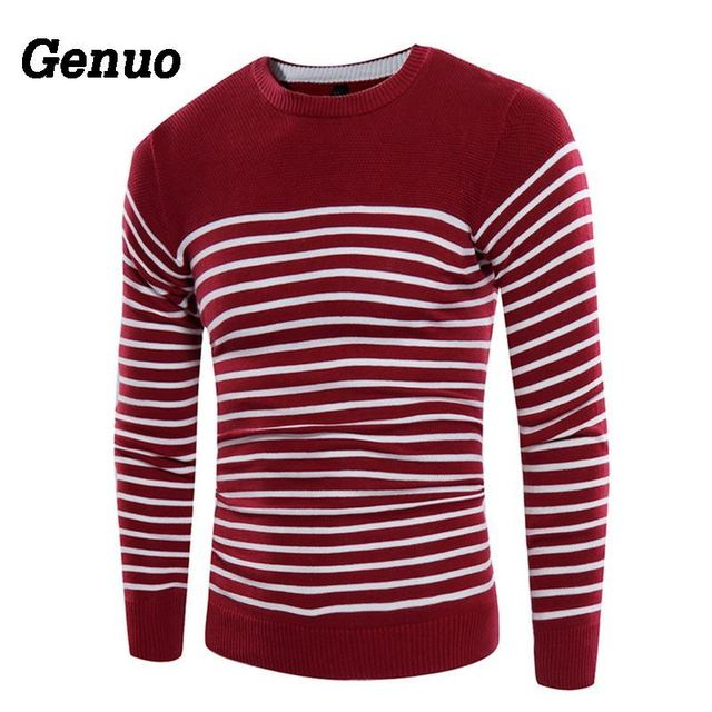Genuo Color Block Striped Sweater Men Pull Homme Casual Knitted Sweater Male Fashion O Neck High Quality Clothes Plus Size 3XL