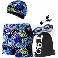 1 Set/5 Pcs Outdoor Herren Badehose Boxer Strand Sportswear Surfen Shorts + Schwimmen Goggle + Schwimmen Kappe + schwimmen Ohrstöpsel